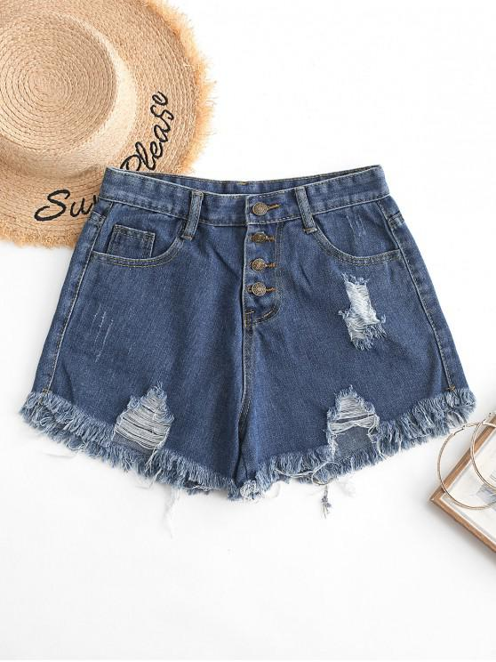 outfits Button Fly Ripped Denim Shorts - BLUE S
