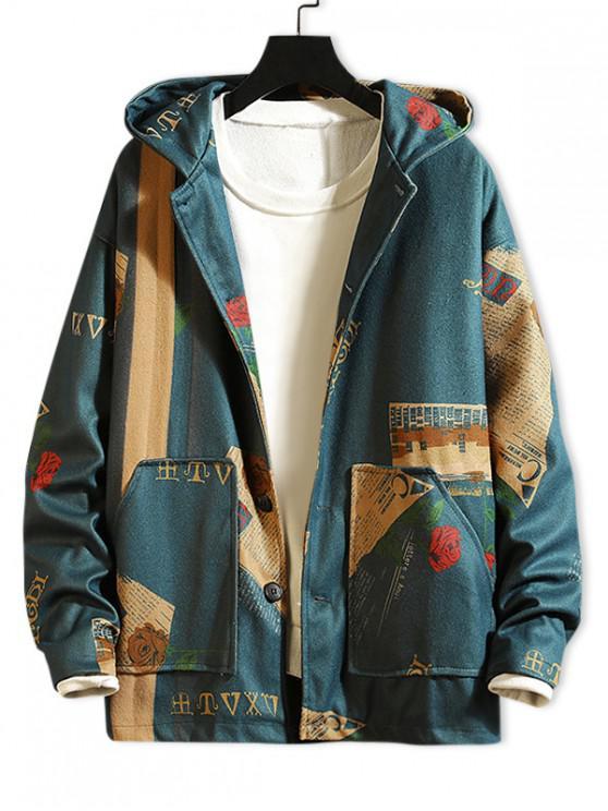 best Newspaper Flower Letter Graphic Print Hooded Jacket - BLUE 2XL