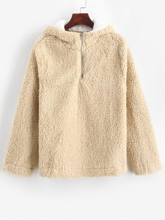 sale Half Zip Contrast Fluffy Teddy Hoodie - CHAMPAGNE S