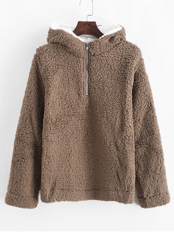 fancy Half Zip Contrast Fluffy Teddy Hoodie - BROWN BEAR S