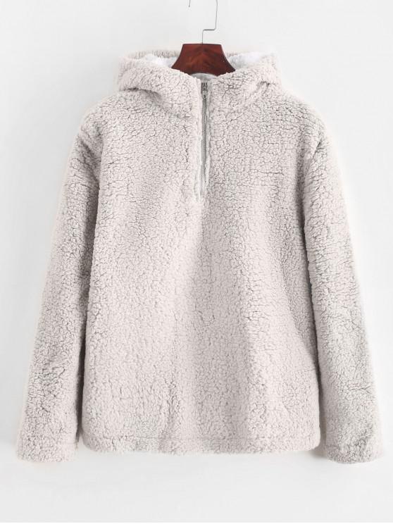 buy Half Zip Contrast Fluffy Teddy Hoodie - LIGHT GRAY XL