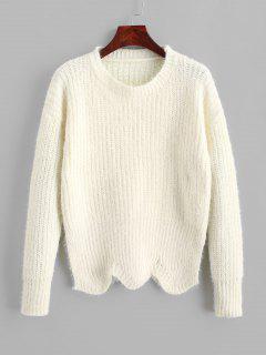 ZAFUL Pullover Crew Neck Scalloped Hem Sweater - Warm White S