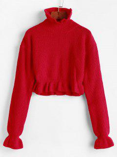 Solid Ruffled Pullover Sweater - Red L