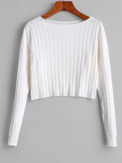 Drop Shoulder Slash Neck Cropped Sweater - White L