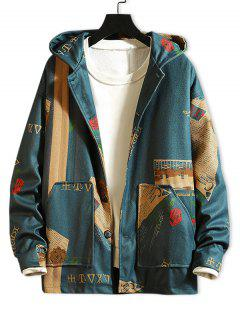 Newspaper Flower Letter Graphic Print Hooded Jacket - Blue 3xl