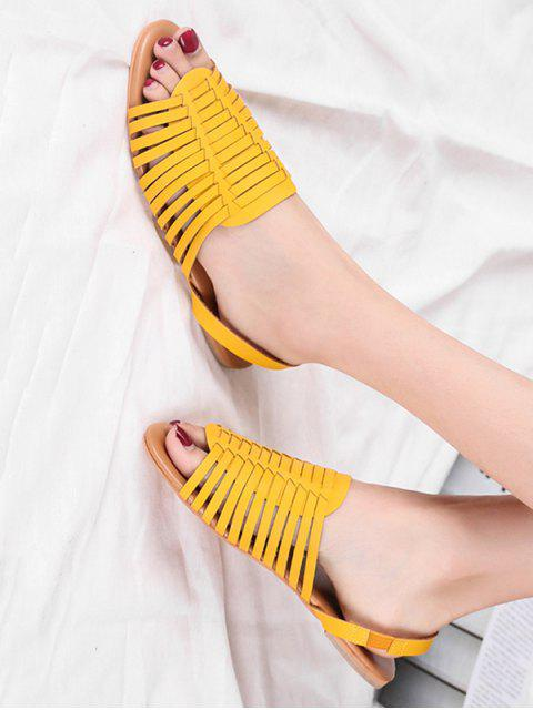 fashion PU Leather Slingback Flat Huarache Sandals - YELLOW EU 39 Mobile