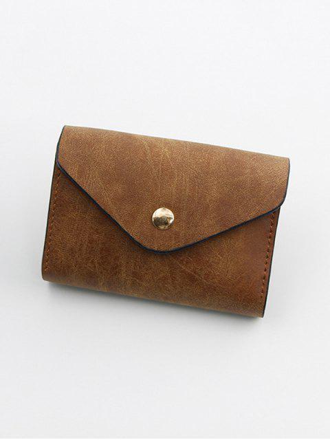 按扣PU皮革卡袋 - 深褐色  Mobile