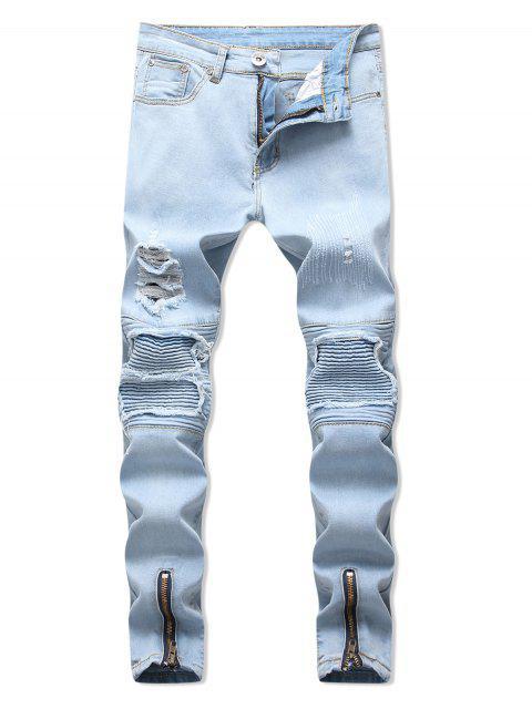 拉鍊披肩裝飾撕開牛仔褲 - 牛仔布藍色 32 Mobile