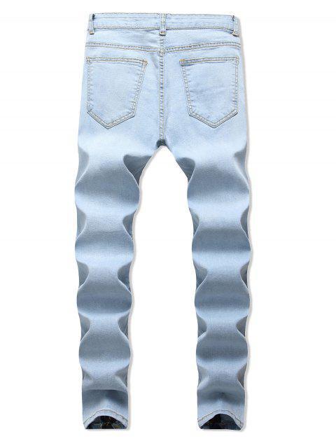 拉鍊披肩裝飾撕開牛仔褲 - 牛仔布藍色 34 Mobile