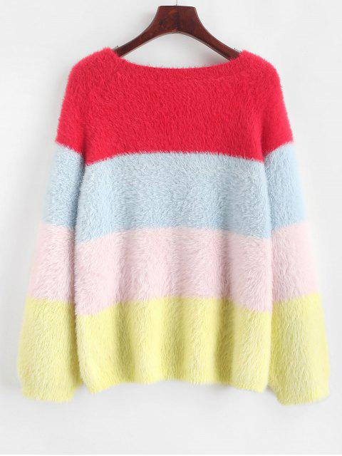chic Color Block Raglan Sleeve Fuzzy Knit Sweater - MULTI-A L Mobile