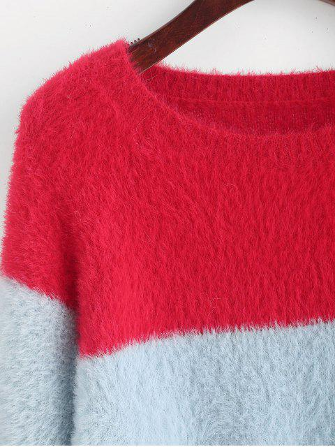 chic Color Block Raglan Sleeve Fuzzy Knit Sweater - MULTI-A M Mobile