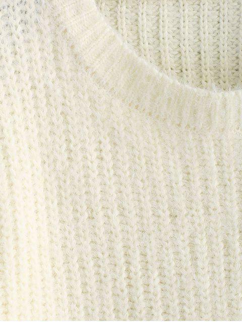ZAFUL Pullover mit Rundhalsausschnitt und Überbackenem Saum - Warmweiß L Mobile