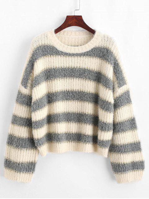 sale Drop Shoulder Metallic Stripes Pullover Sweater - MULTI-A M Mobile