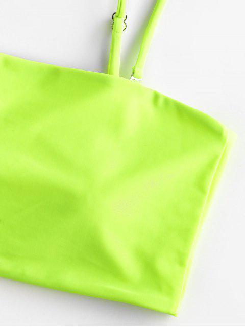 Traje de baño Tankini de corte alto con ribete de neón ZAFUL - Multicolor-A XL Mobile