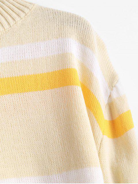 Suéter Pulôver com Gola em Camada e Listras Panorâmicas - Creme M Mobile