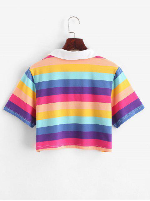 T-shirt Court Rayure Arc-en-ciel à Demi-Bouton - Multi-B XL Mobile
