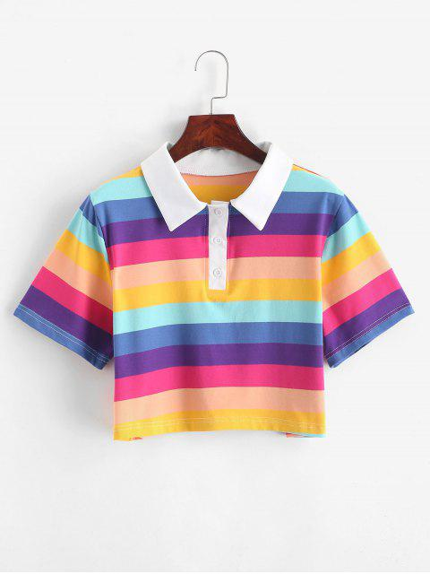 affordable Rainbow Striped Half Button Crop Tee - MULTI-B M Mobile