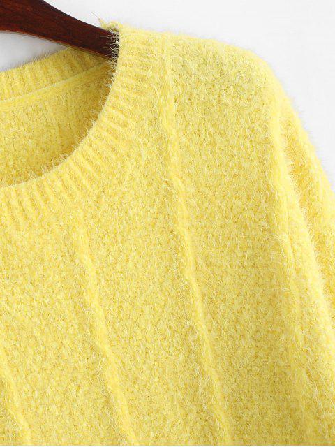 Fallschulter Hoher Niedriger Schlitz Pullover - Gelb S Mobile