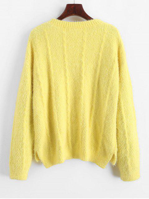 lady Drop Shoulder High Low Slit Jumper Sweater - YELLOW S Mobile