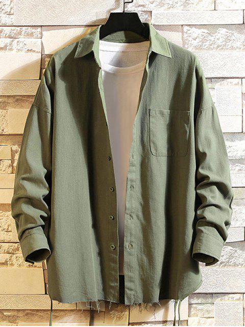 Camicia In Tinta Unita Con Frange E Tasca A Spalle Oblique - Verde Dell'esercito 2XL Mobile