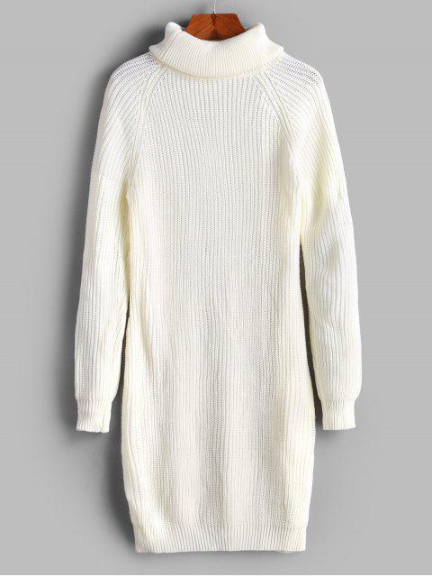 高領插肩袖緊身連衣裙 - 白色 M Mobile