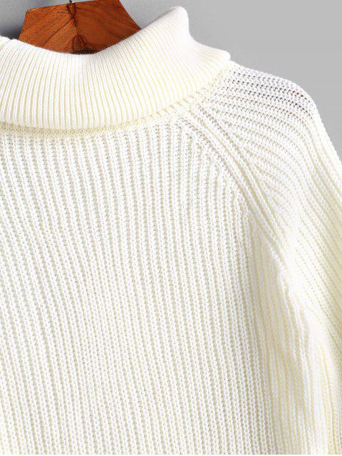Robe Pull Moulante Manches Raglan à Col Roulé - Blanc S Mobile