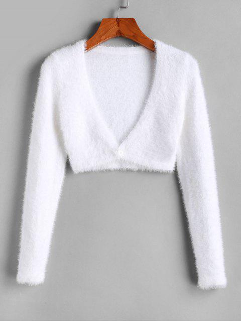 shop Cropped Fuzzy One Buttoned Cardigan - WHITE S Mobile