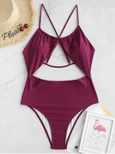 affordable ZAFUL Criss Cross Cutout High Cut One-piece Swimsuit - PLUM PIE S Mobile