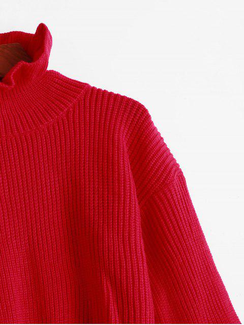 Einfarbiger Gekräuselte Pullover Sweater - Rot L Mobile