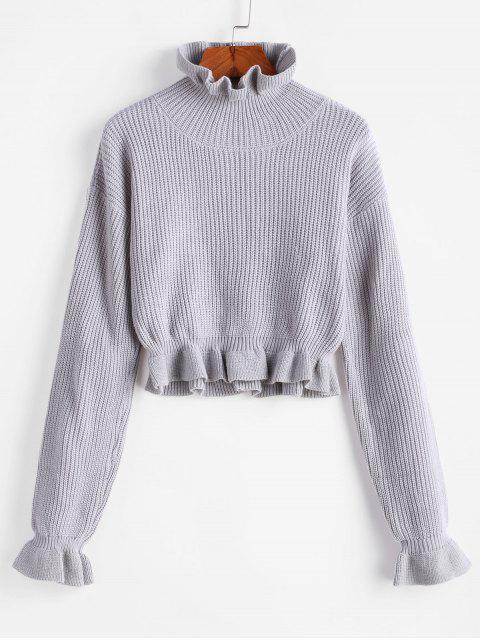 ladies Solid Ruffled Pullover Sweater - PLATINUM S Mobile