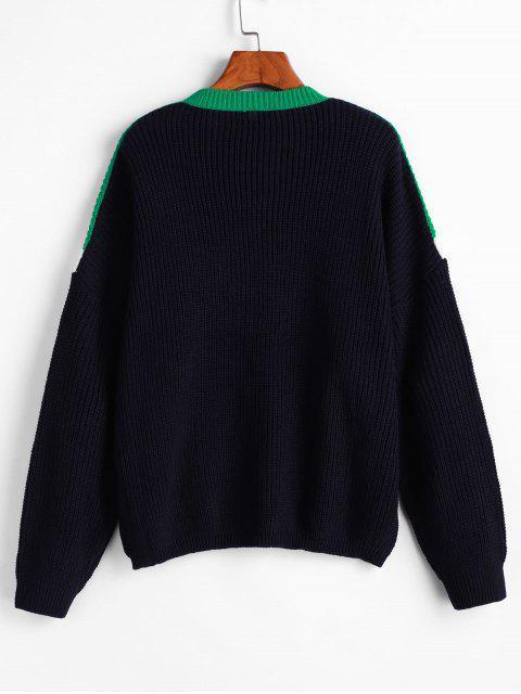 affordable Drop Shoulder Crew Neck Color Block Sweater - MULTI S Mobile
