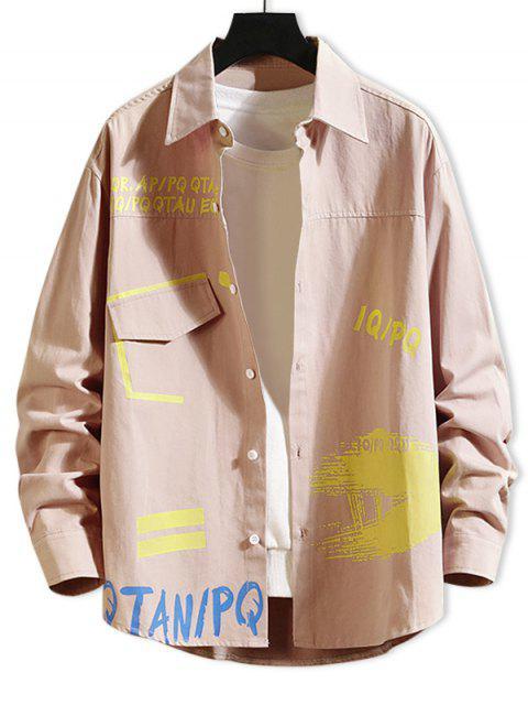 Carta de impresión de la pintura camiseta de manga larga Faux de bolsillo - Rosa Claro 4XL Mobile