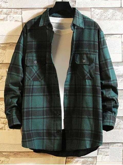 affordable Chest Pocket Plaid High Low Button Shirt - GREEN 2XL Mobile