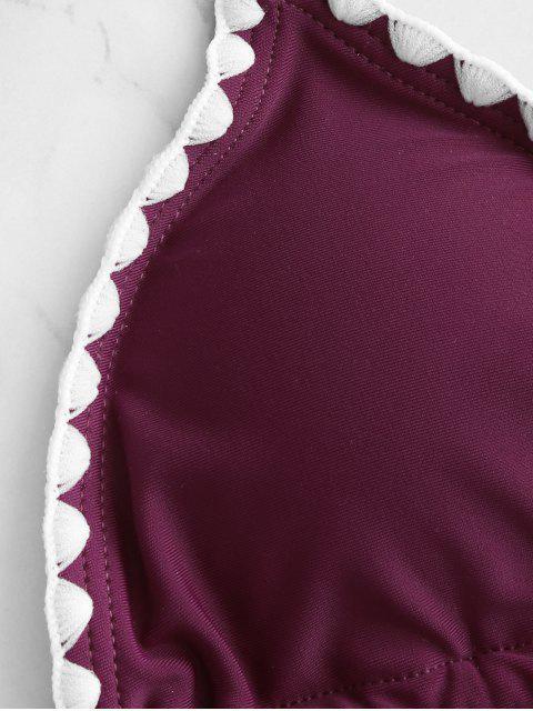 ZAFUL Maillot de Bain Bikini Cousu à Col Halter - Prune M Mobile
