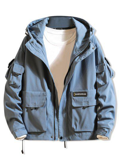 Letter Print Applique Flap Pocket Hooded Jacket - Blue 2xl