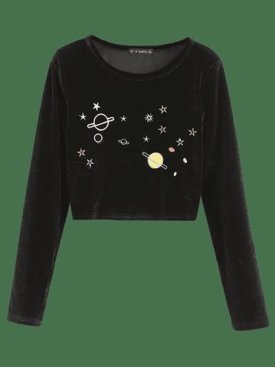 ZAFUL Planet Star Embroidered Velvet Crop T-shirt, Black