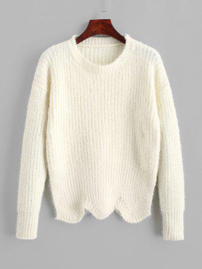 ZAFUL Pullover Crew Neck Scalloped Hem Sweater - Warm White M