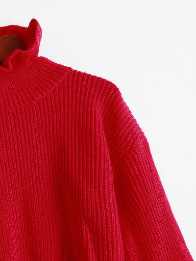Solid Ruffled Pullover Sweater, Red