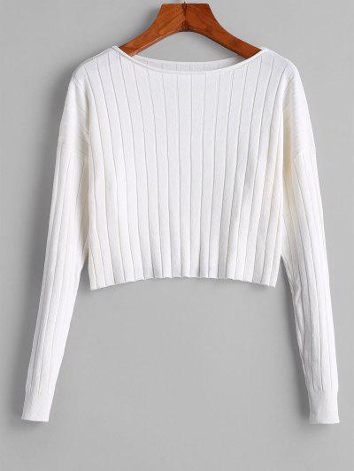 Drop Shoulder Slash Neck Cropped Sweater - White M
