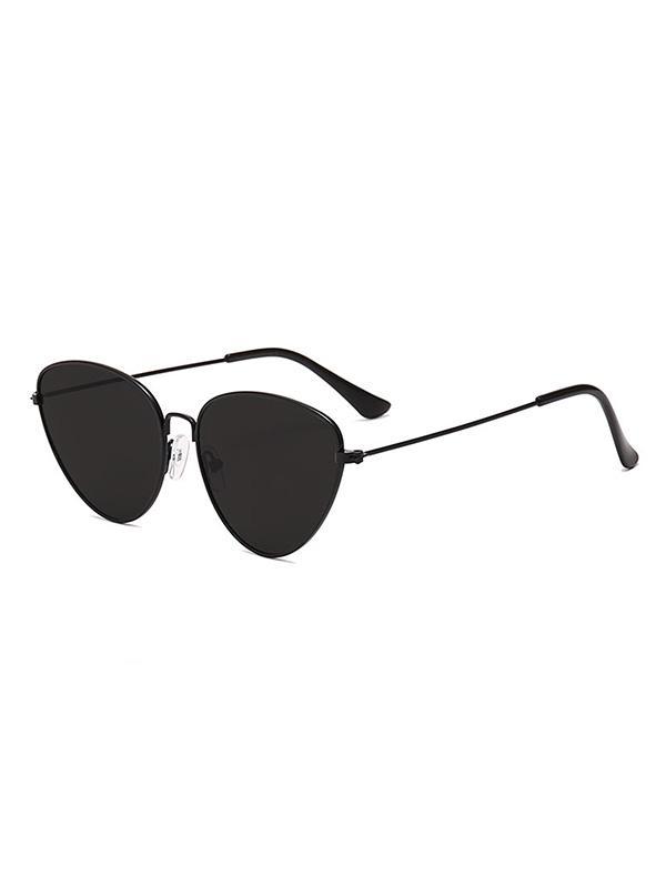 Catty Eye Alloy Frame Triangle Sunglasses, Black eel