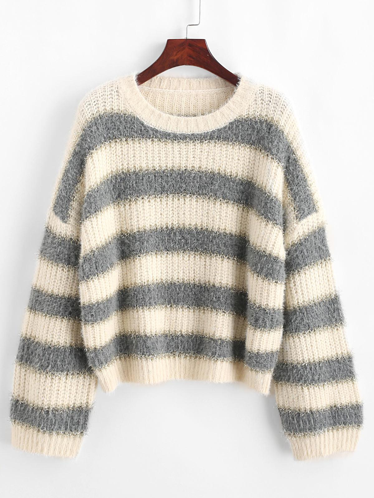 Drop Shoulder Metallic Stripes Pullover Sweater