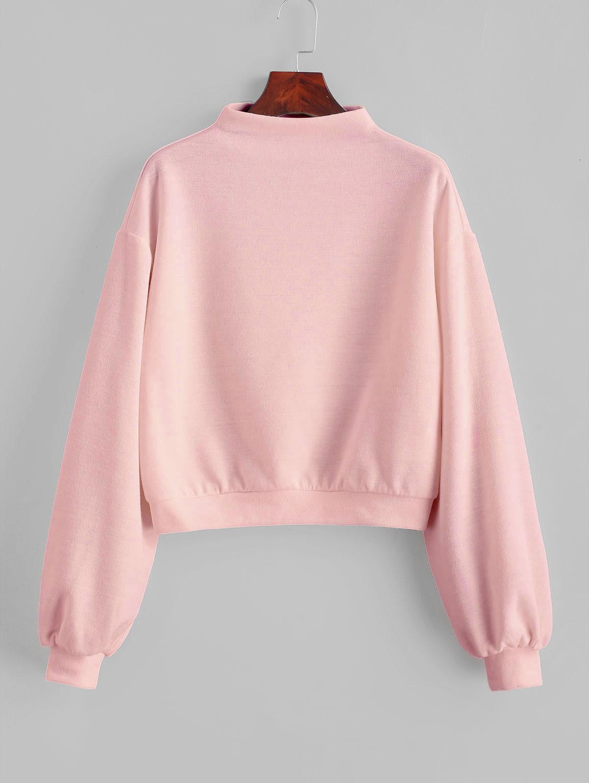 ZAFUL Pullover Mock Neck Plain Sweatshirt thumbnail