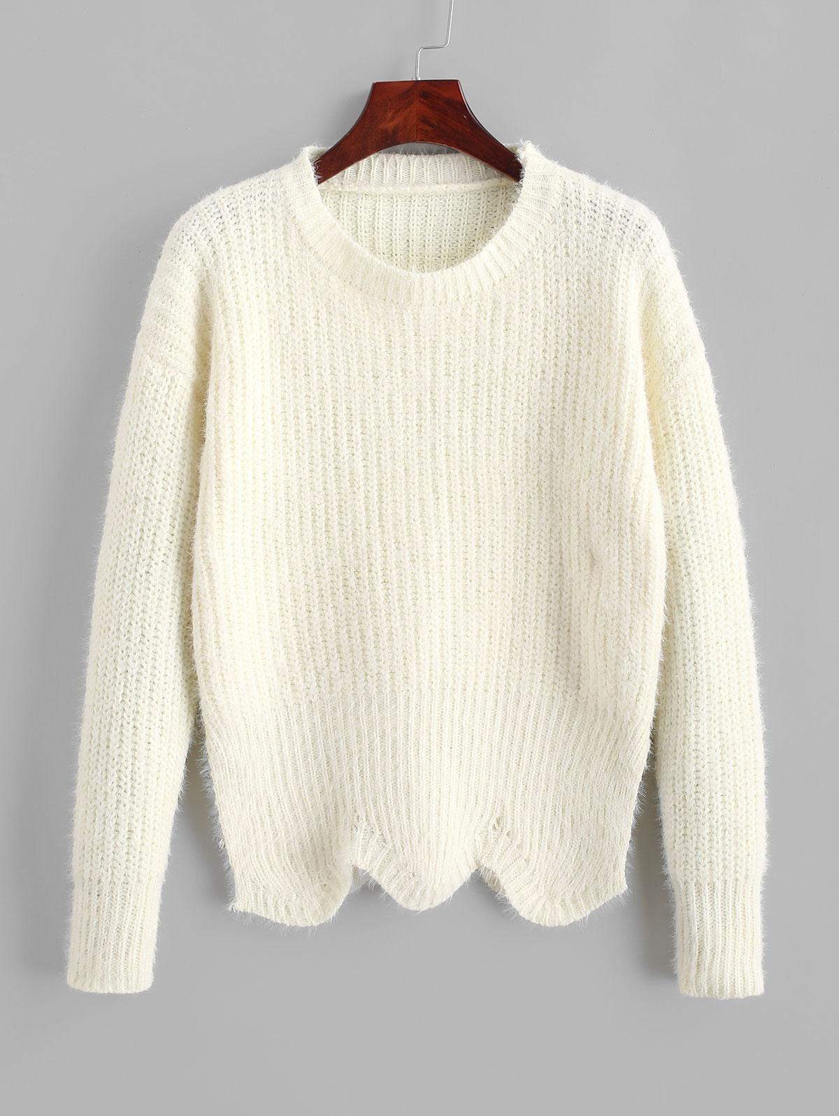 ZAFUL Pullover Crew Neck Scalloped Hem Sweater