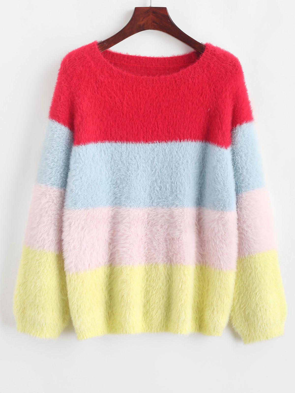 Color Block Raglan Sleeve Fuzzy Knit Sweater