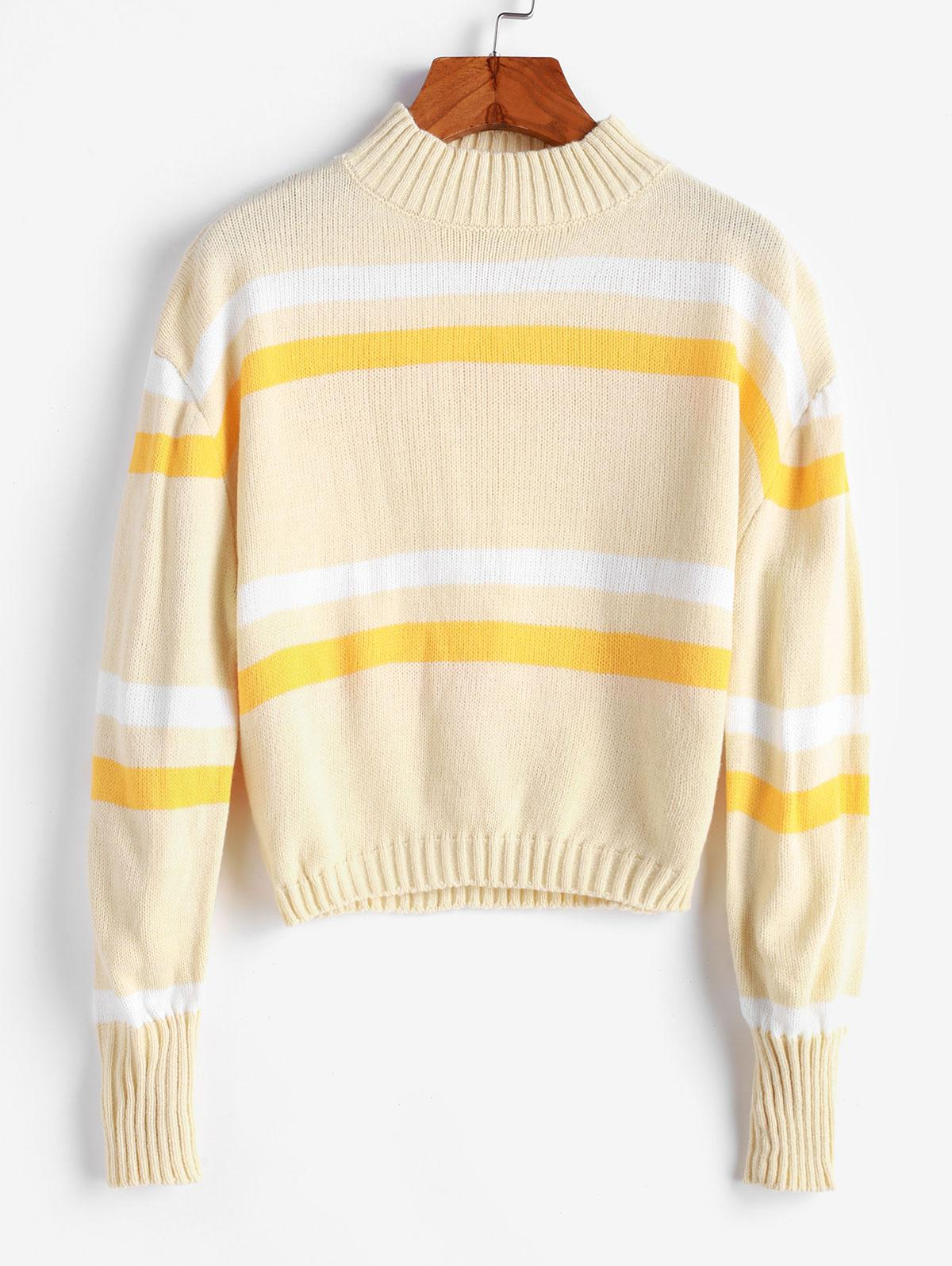 Mock Neck Stripes Panel Pullover Sweater