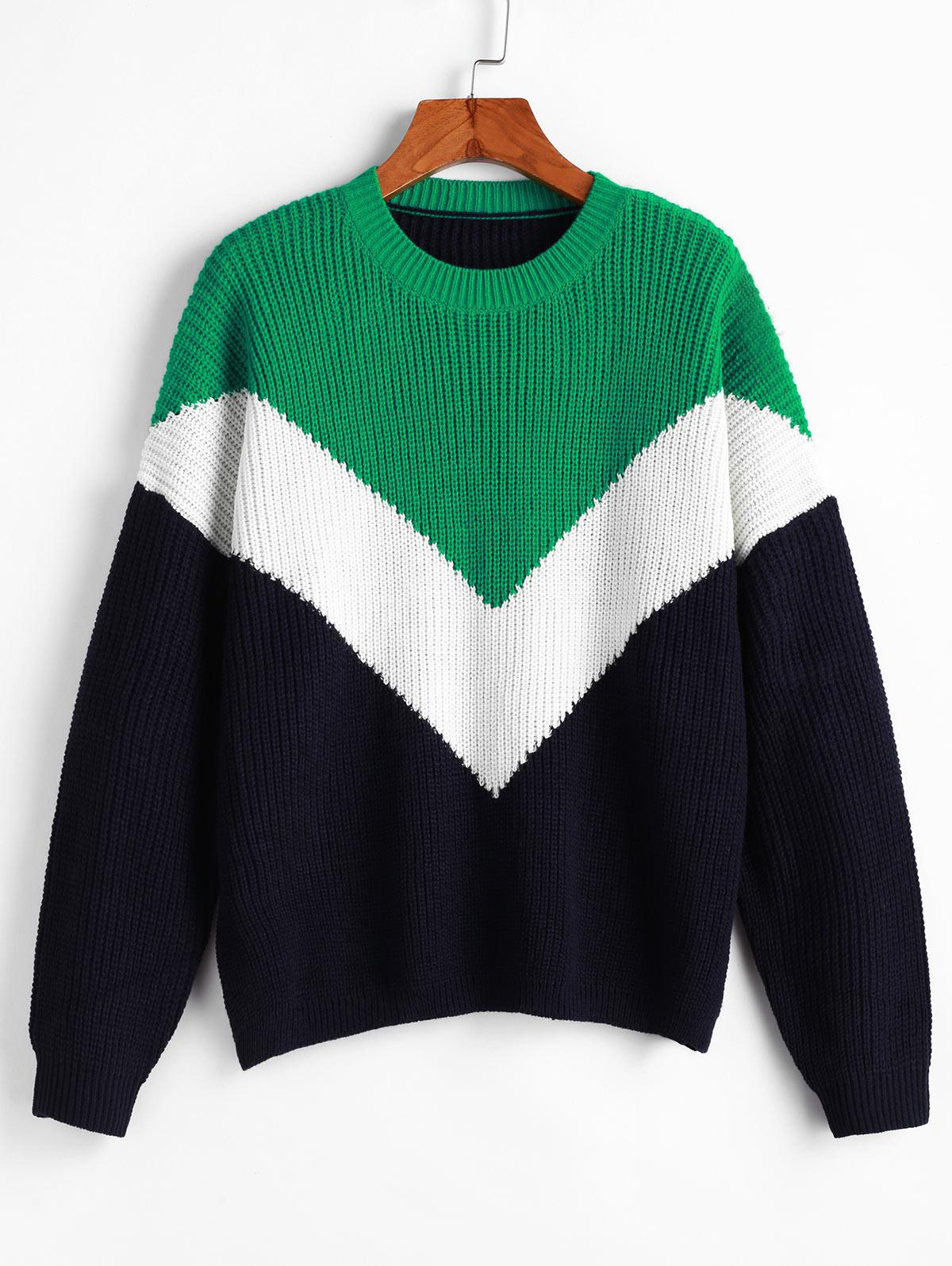 Drop Shoulder Crew Neck Color Block Sweater