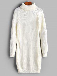 الياقة المدورة راجلان كم Bodycon البلوز اللباس - أبيض S