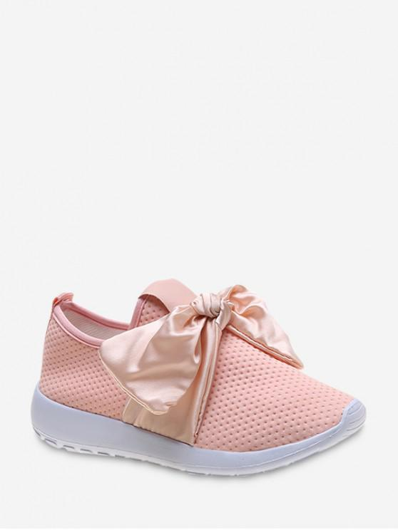 shop Ribbon Bow Perforated Slip On Sport Shoes - PINK EU 41