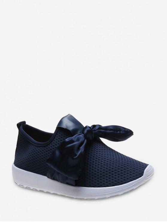 women's Ribbon Bow Perforated Slip On Sport Shoes - DEEP BLUE EU 41