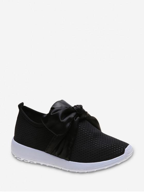 shop Ribbon Bow Perforated Slip On Sport Shoes - BLACK EU 40